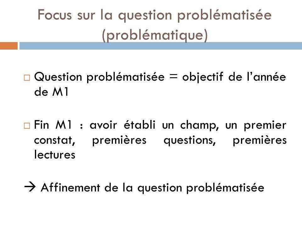 Focus sur la question problématisée (problématique)