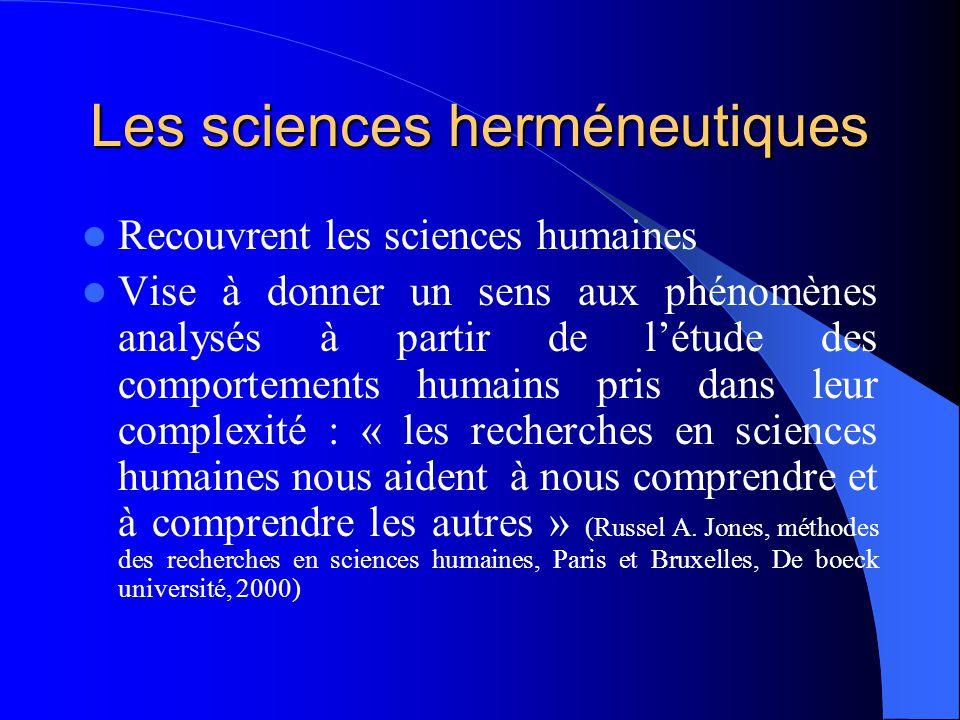 Les sciences herméneutiques