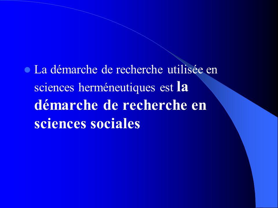 La démarche de recherche utilisée en sciences herméneutiques est la démarche de recherche en sciences sociales