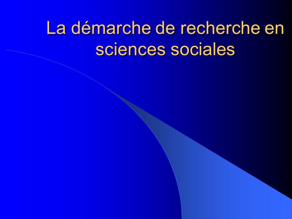 La démarche de recherche en sciences sociales