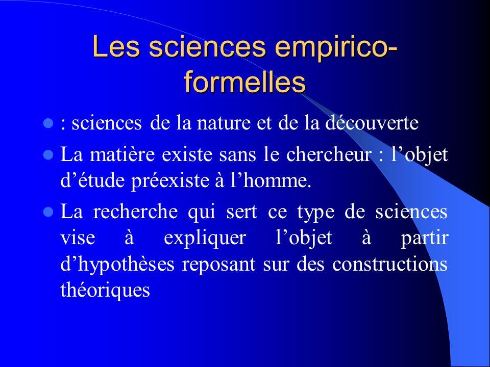 Les sciences empirico-formelles