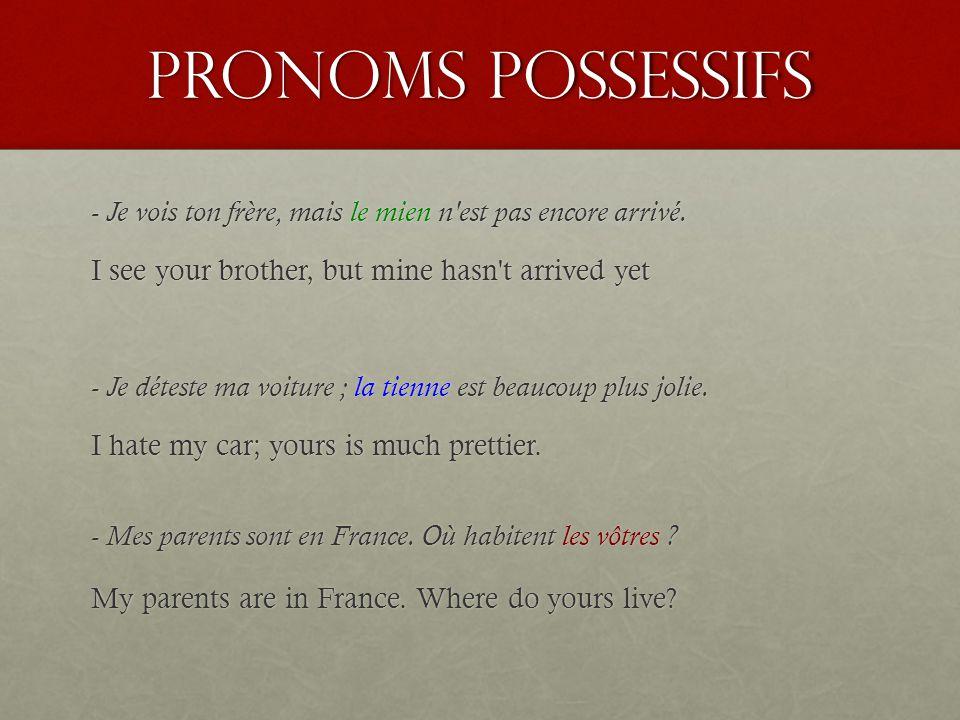 pronoms possessifs fsf4u ppt t l charger. Black Bedroom Furniture Sets. Home Design Ideas
