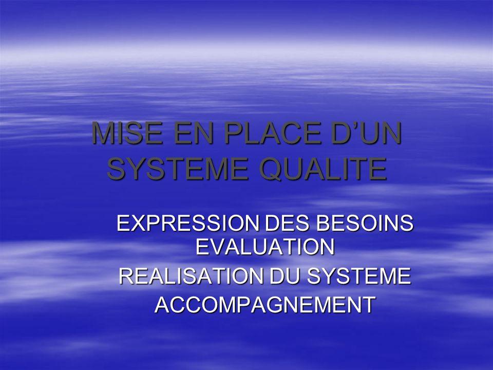 MISE EN PLACE D'UN SYSTEME QUALITE