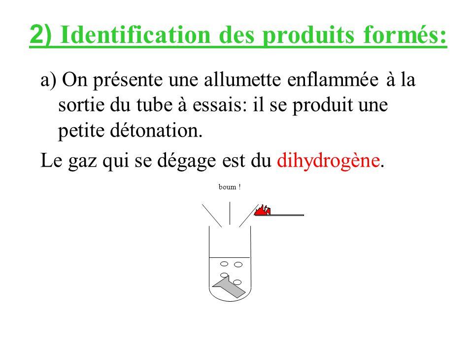 2) Identification des produits formés: