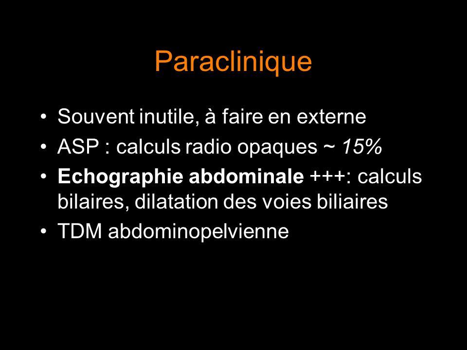 Paraclinique Souvent inutile, à faire en externe
