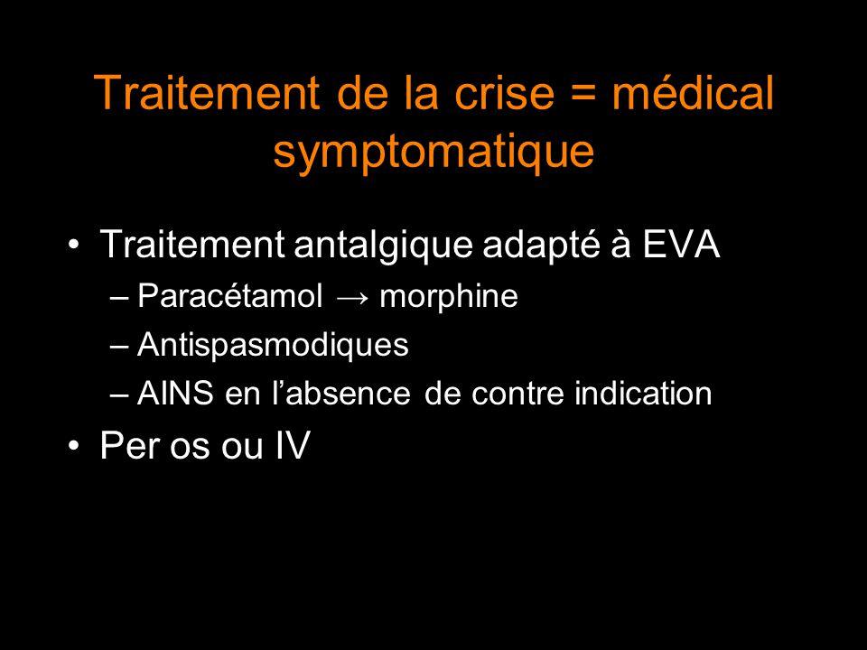 Traitement de la crise = médical symptomatique
