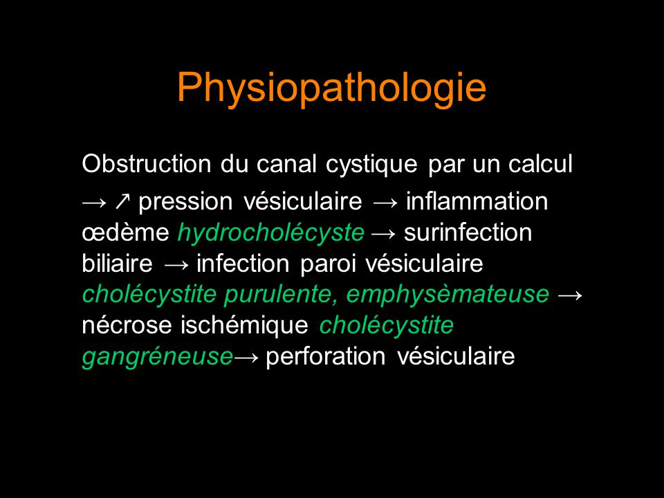 Physiopathologie Obstruction du canal cystique par un calcul