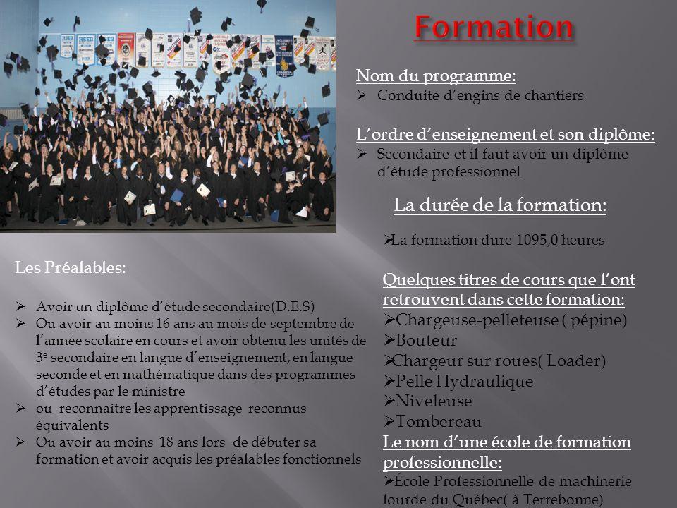 Formation La durée de la formation: Nom du programme: