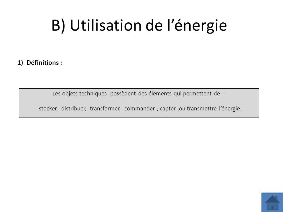 B) Utilisation de l'énergie