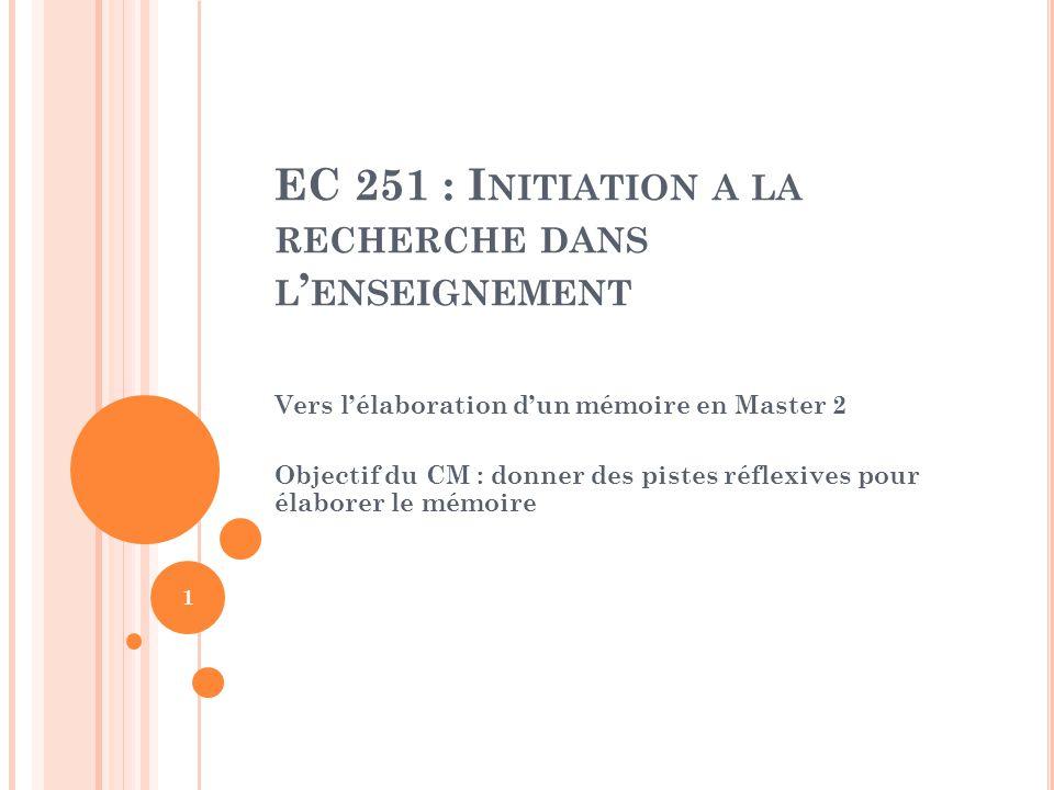 EC 251 : Initiation a la recherche dans l'enseignement