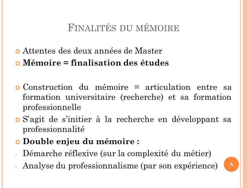 Finalités du mémoire Attentes des deux années de Master
