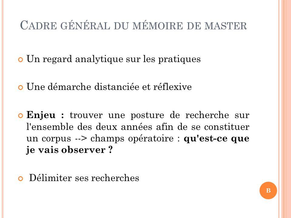 Cadre général du mémoire de master