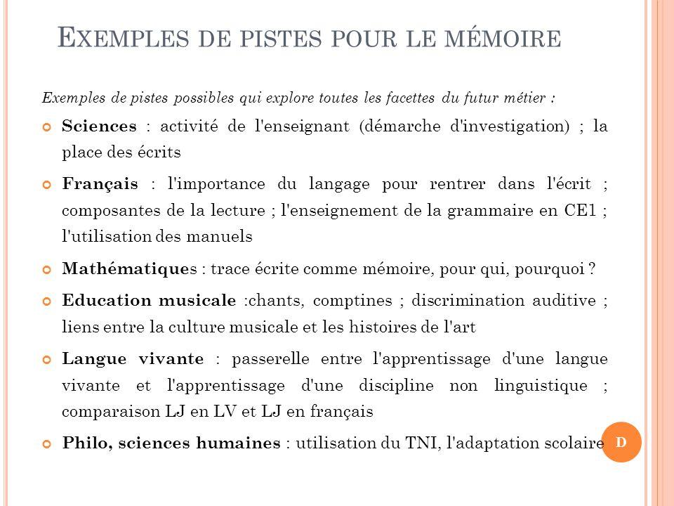 Exemples de pistes pour le mémoire
