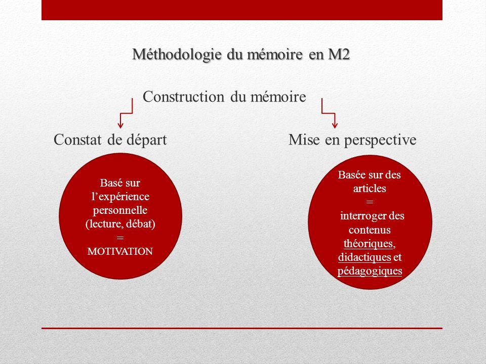 Méthodologie du mémoire en M2 Construction du mémoire