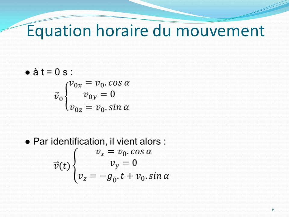 equation horaire du mouvement