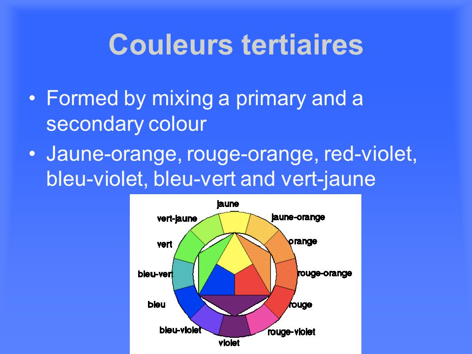 Couleurs tertiaires Formed by mixing a primary and a secondary colour