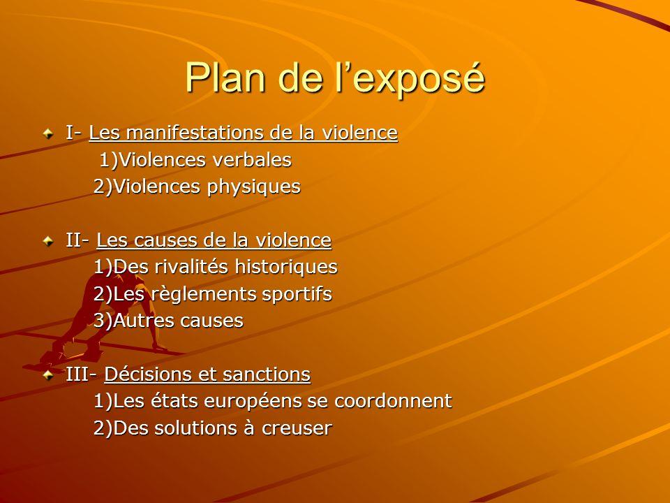 Plan de l'exposé I- Les manifestations de la violence