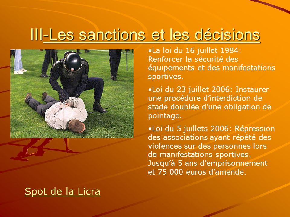 III-Les sanctions et les décisions