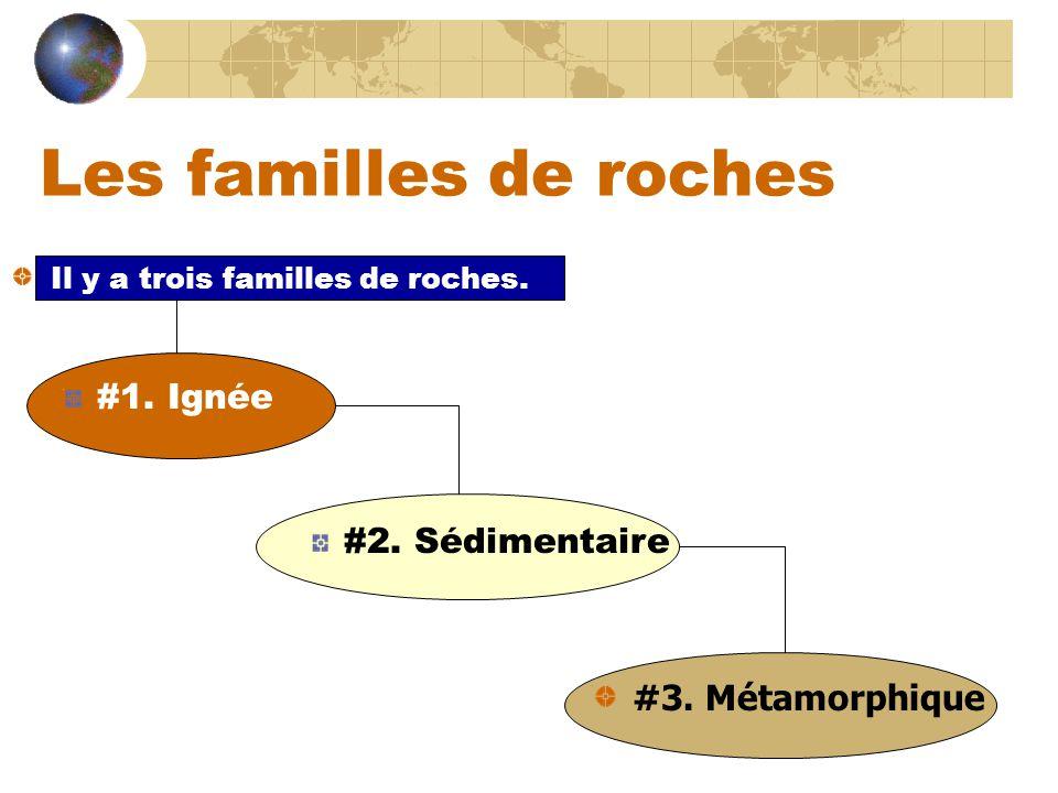 Les familles de roches #1. Ignée #2. Sédimentaire #3. Métamorphique