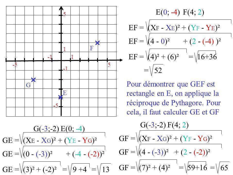 EF = (XF - XE)² + (YF - YE)²