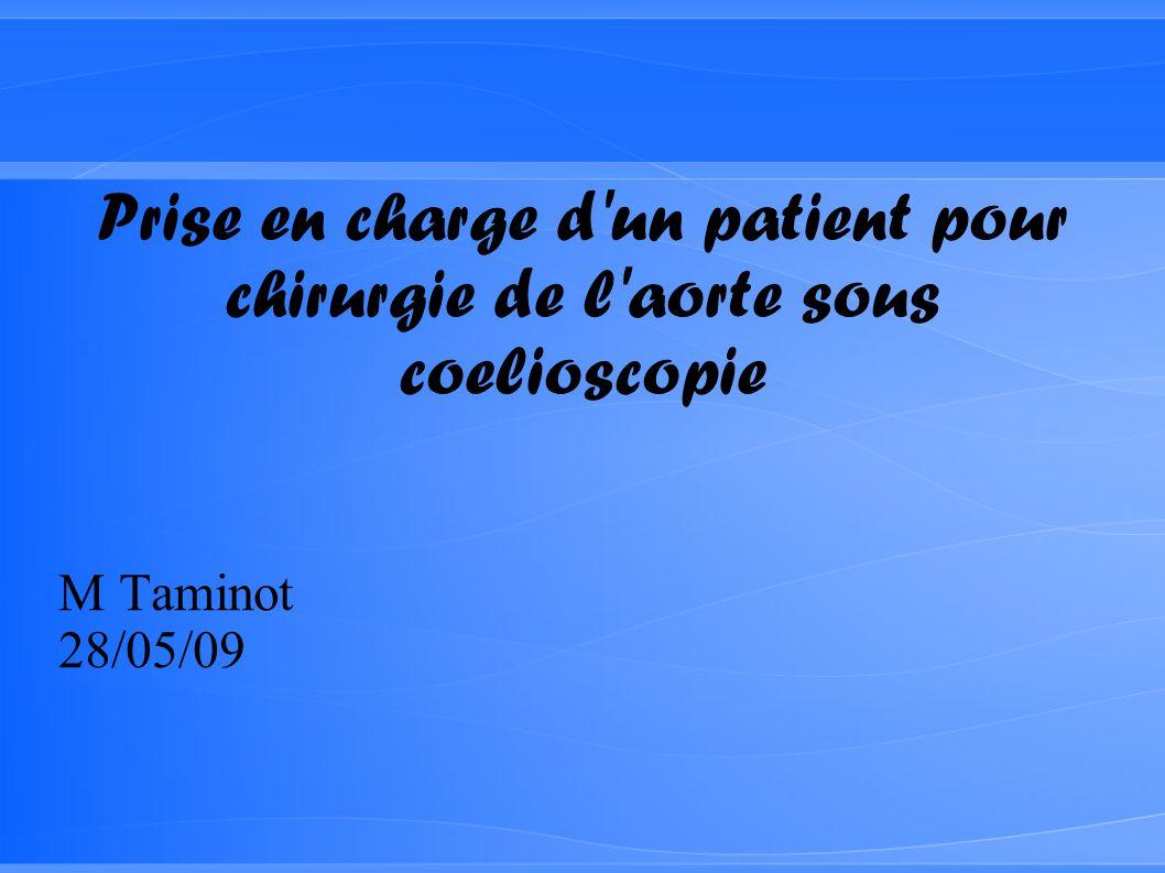 Prise en charge d un patient pour chirurgie de l aorte sous coelioscopie