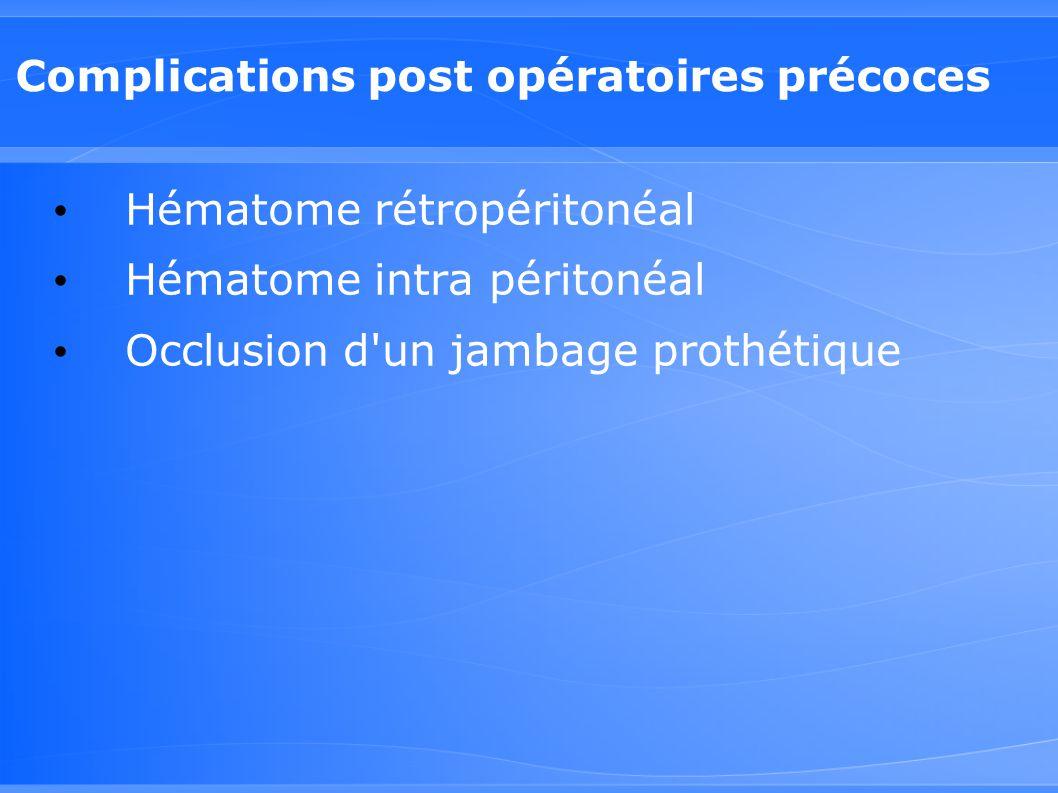 Complications post opératoires précoces