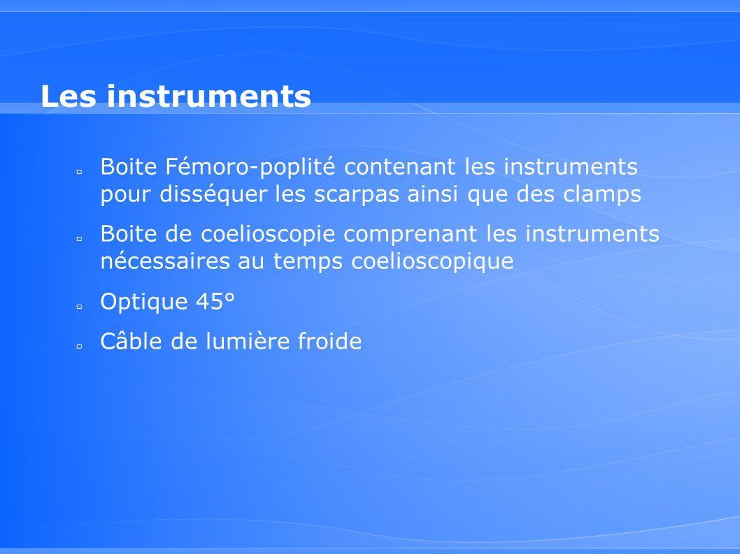 Les instruments Boite Fémoro-poplité contenant les instruments pour disséquer les scarpas ainsi que des clamps.