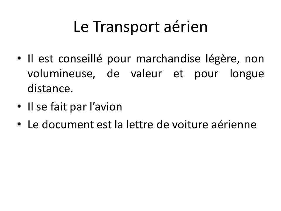 Le Transport aérien Il est conseillé pour marchandise légère, non volumineuse, de valeur et pour longue distance.