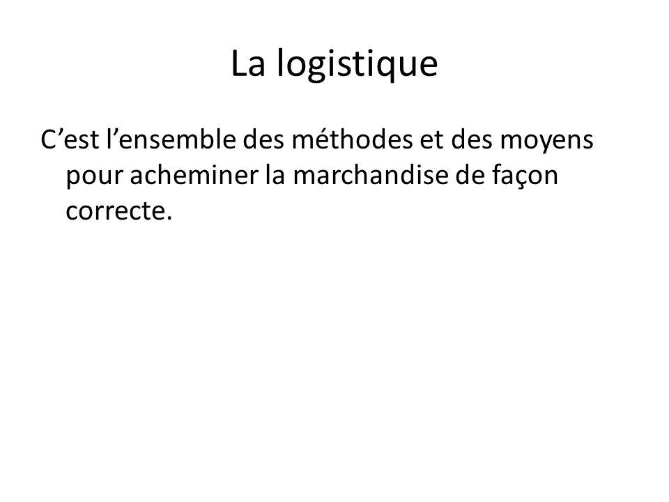 La logistique C'est l'ensemble des méthodes et des moyens pour acheminer la marchandise de façon correcte.