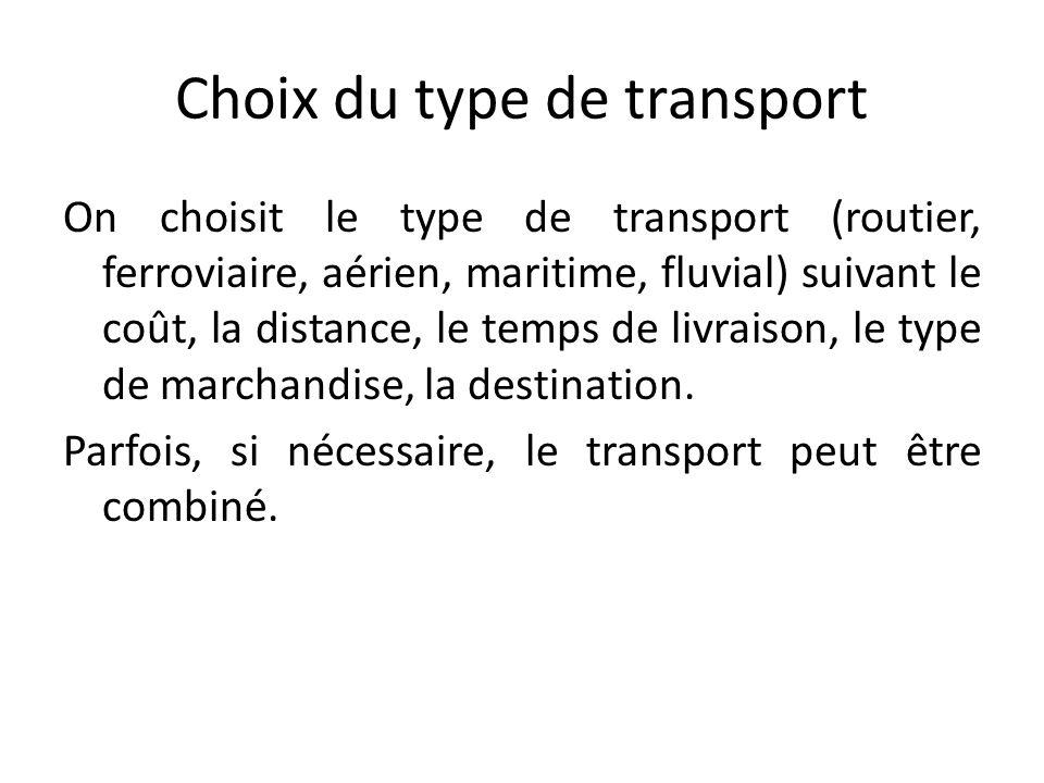 Choix du type de transport