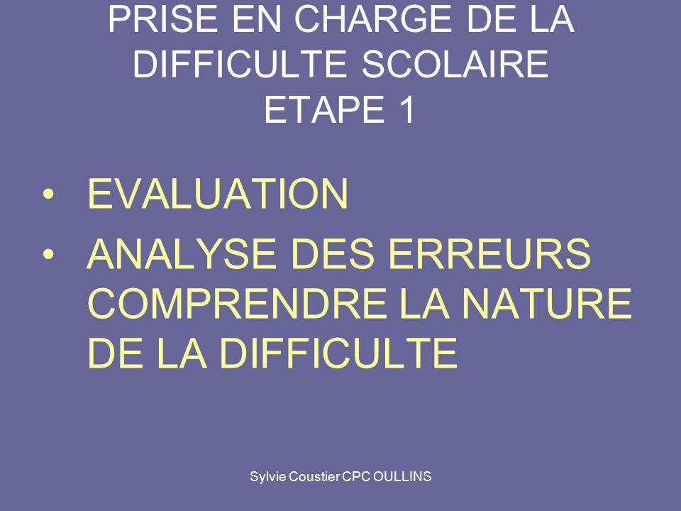PRISE EN CHARGE DE LA DIFFICULTE SCOLAIRE ETAPE 1