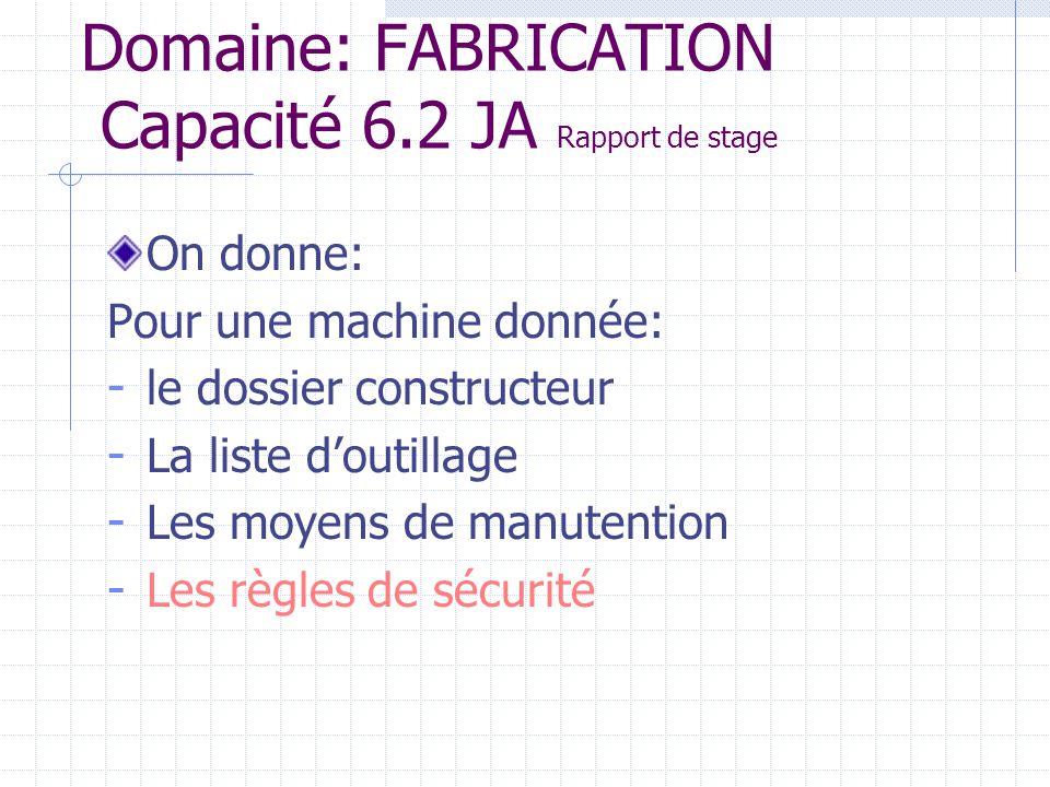 Domaine: FABRICATION Capacité 6.2 JA Rapport de stage