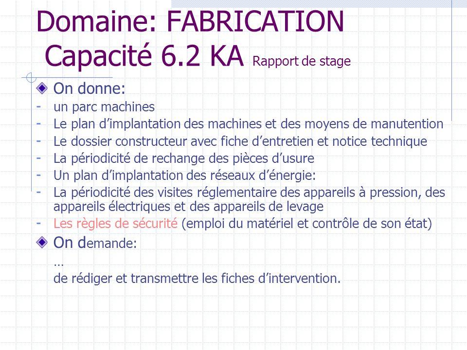 Domaine: FABRICATION Capacité 6.2 KA Rapport de stage