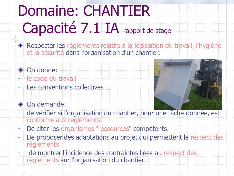 Domaine: CHANTIER Capacité 7.1 IA rapport de stage