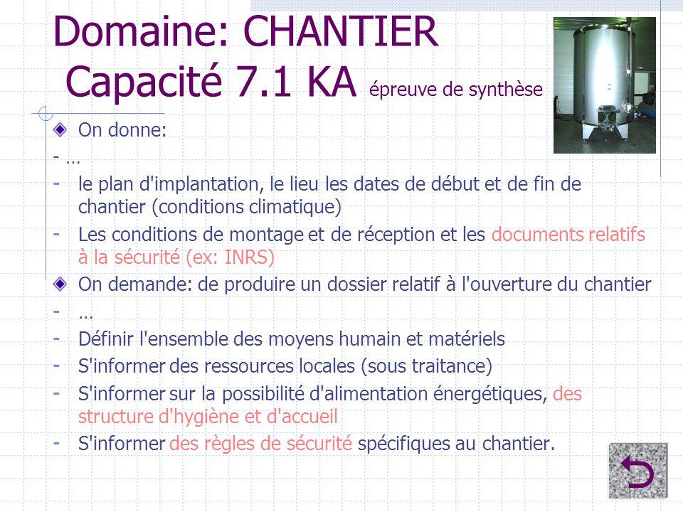Domaine: CHANTIER Capacité 7.1 KA épreuve de synthèse