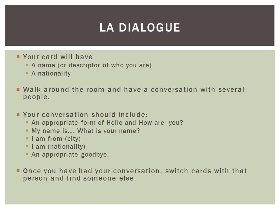 La Dialogue Your card will have