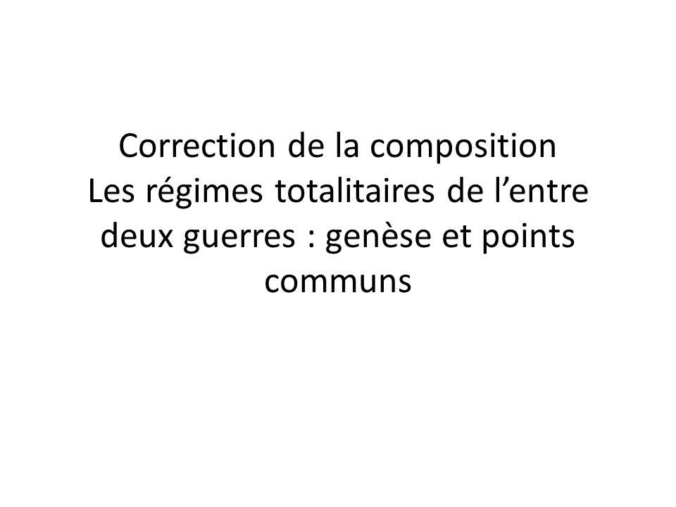 Correction de la composition Les régimes totalitaires de l'entre deux guerres : genèse et points communs