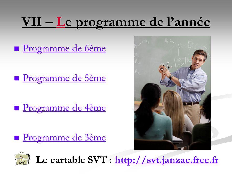 VII – Le programme de l'année