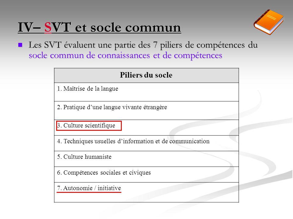 IV– SVT et socle commun Les SVT évaluent une partie des 7 piliers de compétences du socle commun de connaissances et de compétences.