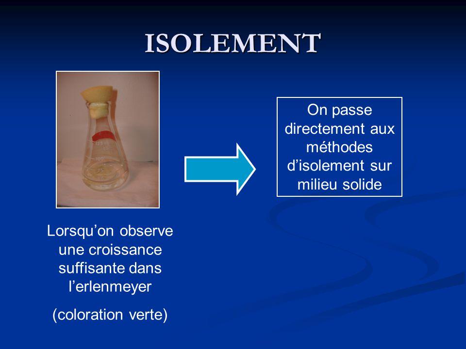 ISOLEMENT On passe directement aux méthodes d'isolement sur milieu solide. Lorsqu'on observe une croissance suffisante dans l'erlenmeyer.