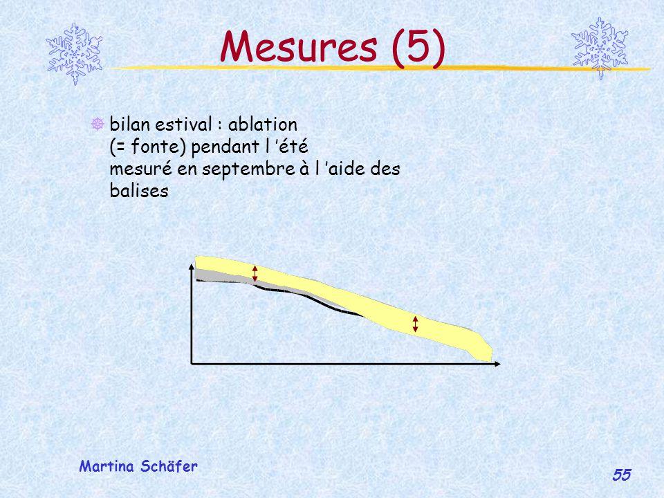 Mesures (5) bilan estival : ablation (= fonte) pendant l 'été mesuré en septembre à l 'aide des balises.