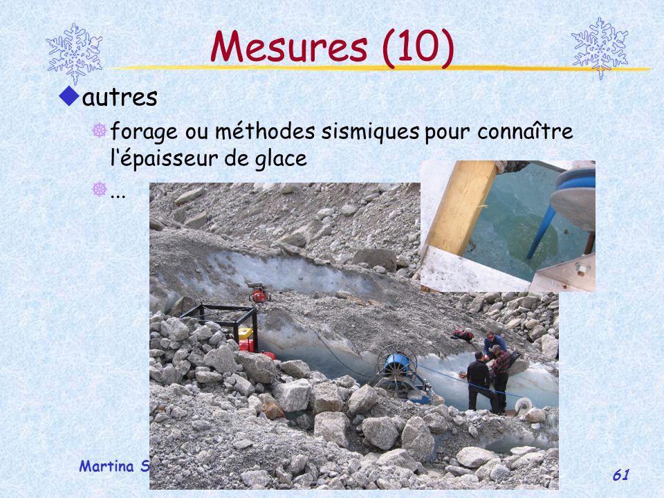 Mesures (10) autres. forage ou méthodes sismiques pour connaître l'épaisseur de glace.
