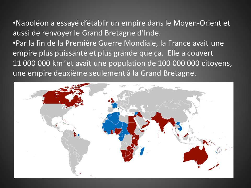 Napoléon a essayé d'établir un empire dans le Moyen-Orient et aussi de renvoyer le Grand Bretagne d'Inde.