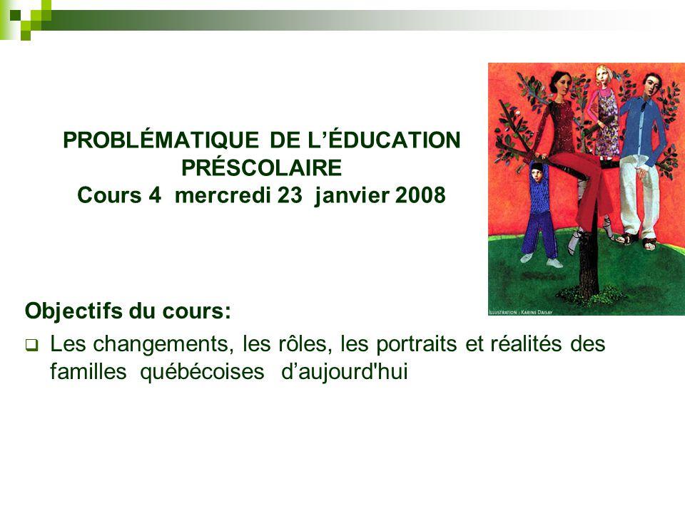 PROBLÉMATIQUE DE L'ÉDUCATION PRÉSCOLAIRE Cours 4 mercredi 23 janvier 2008
