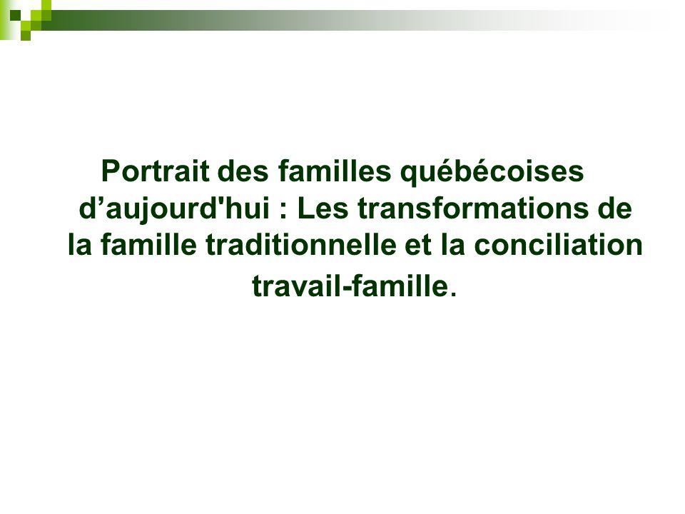 Portrait des familles québécoises d'aujourd hui : Les transformations de la famille traditionnelle et la conciliation travail-famille.