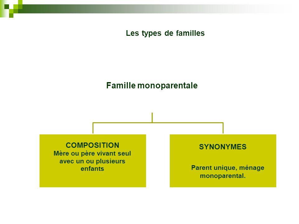 Famille monoparentale Mère ou père vivant seul