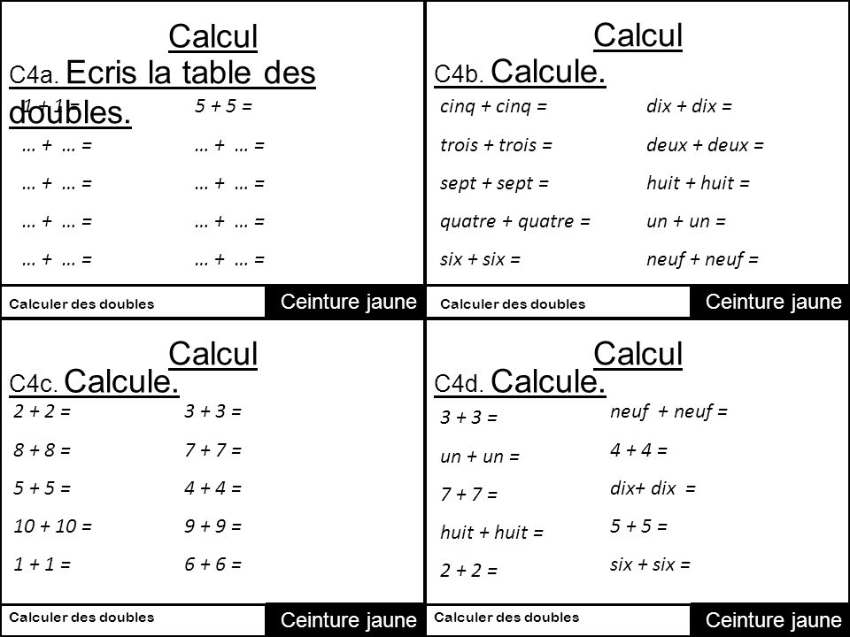 Calcul calcul calcul calcul c1a calcule c1b calcule for Table de calcul