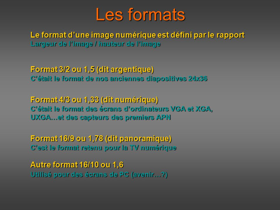 formats  d u00e9finition et r u00e9solution