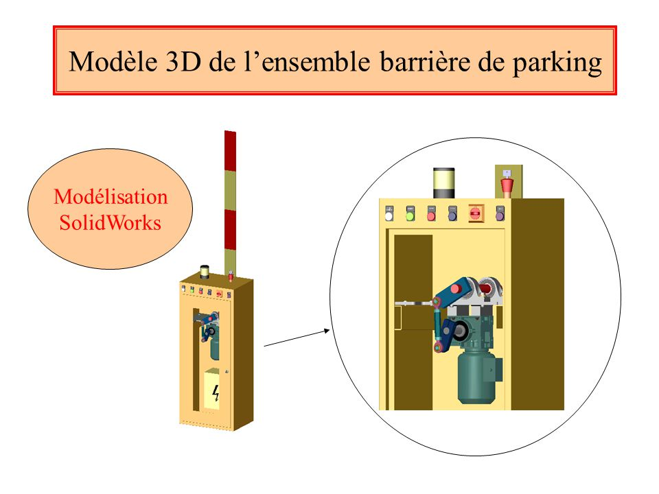 Modèle 3D de l'ensemble barrière de parking