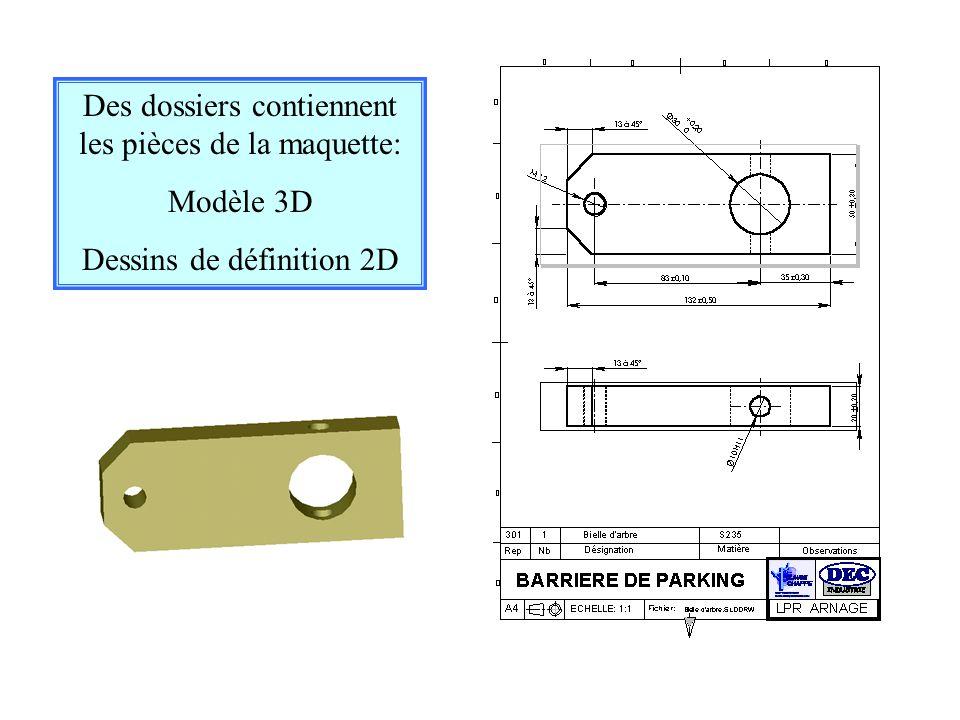 Des dossiers contiennent les pièces de la maquette: Modèle 3D